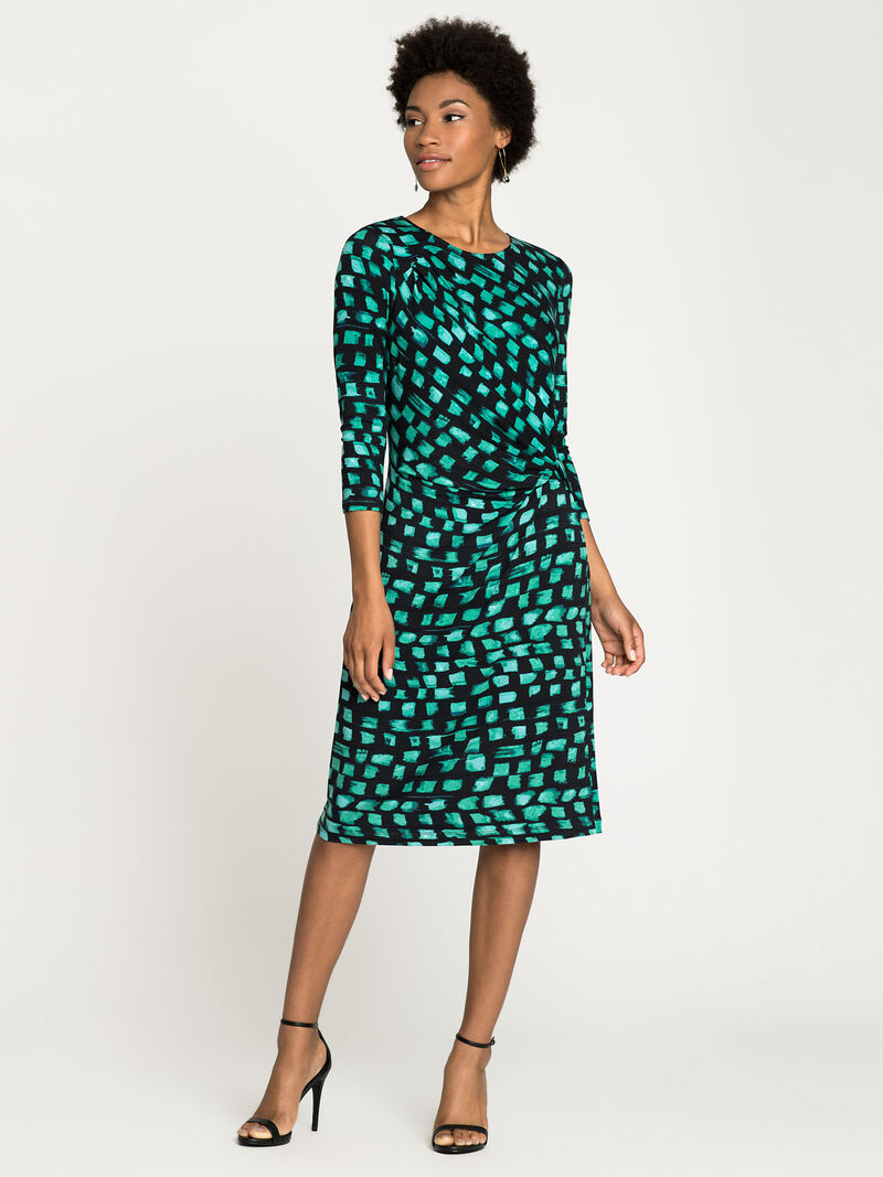 Vivid Sleeved Twist Dress