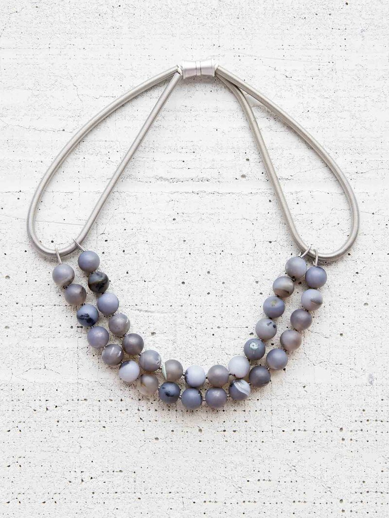 Sea Lily Grey Geode Necklace