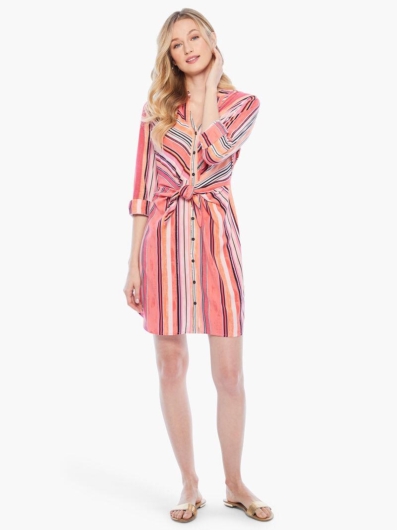 Sunset Stripe Shirt Dress image number 3