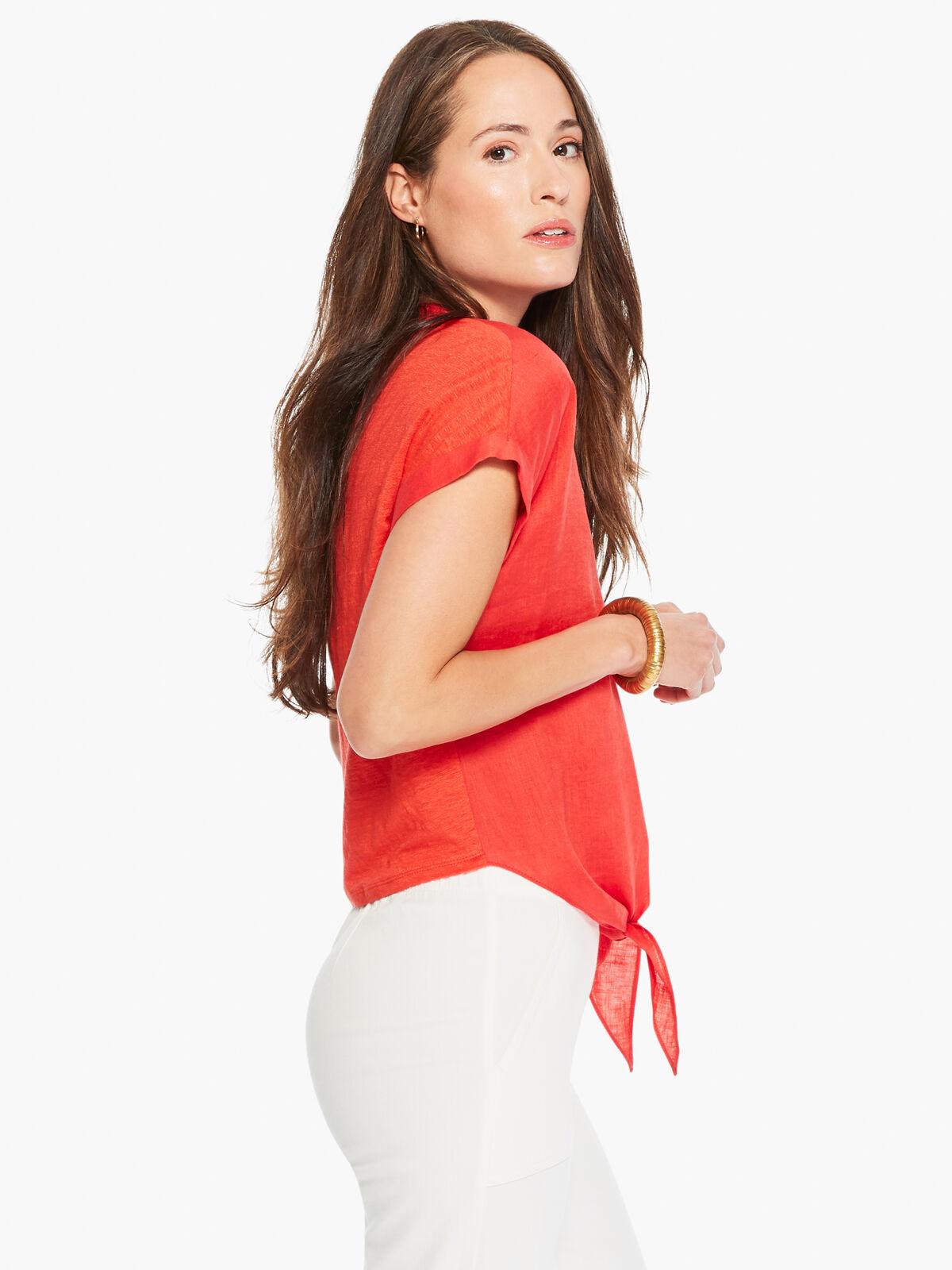 Mixed Media Tie Front Shirt