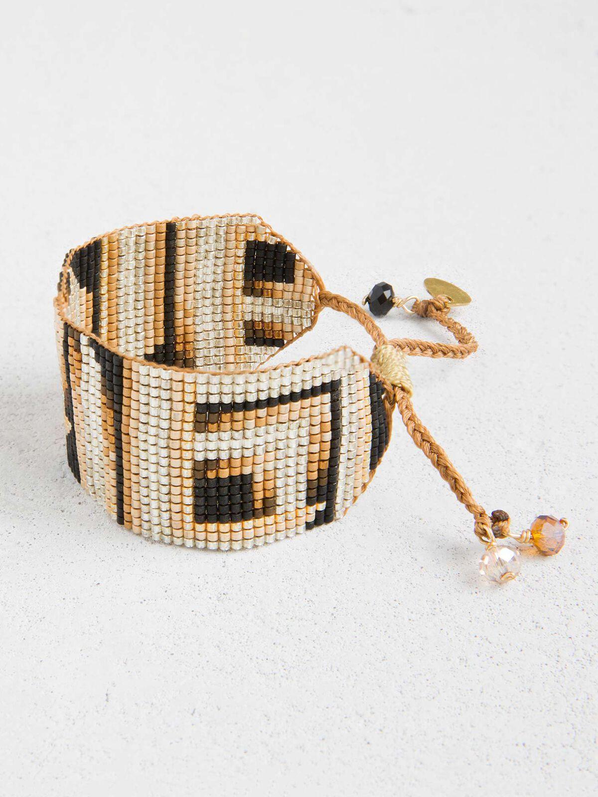 Mishky - Spicy Brown Mosaic Print Beaded Bracelet
