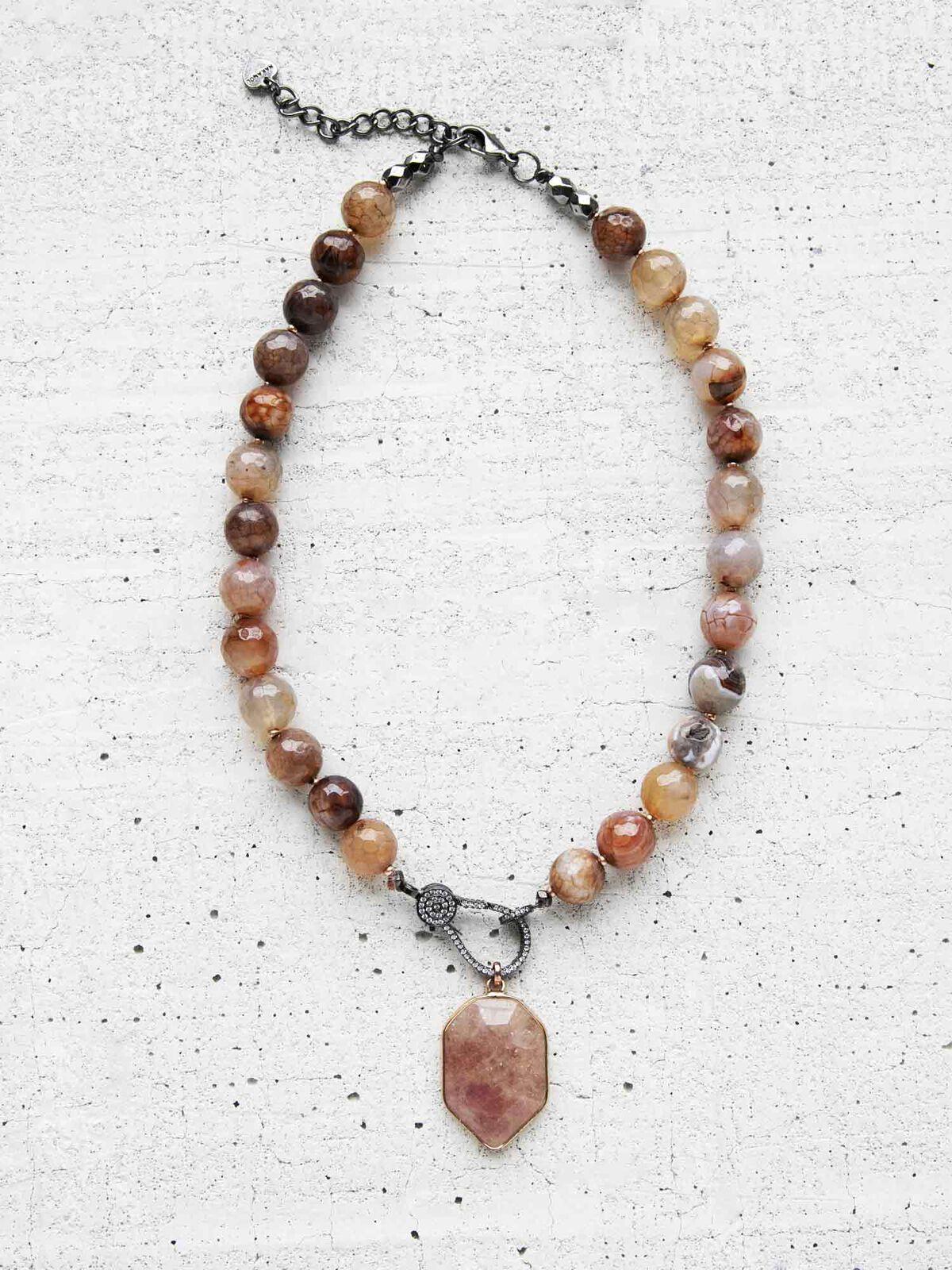 Nakamol Beaded Stone Statement Necklace