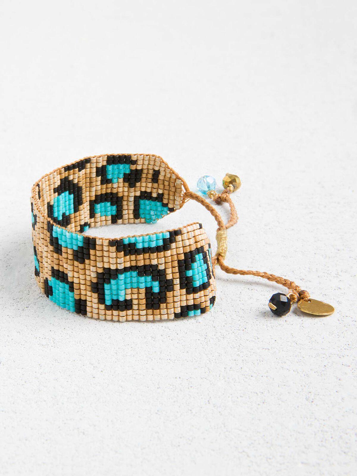 Mishky Leopard Print Beaded Bracelet