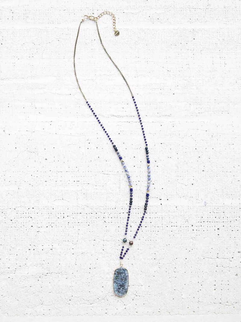 Nakamol Beaded Stone Drop Necklace