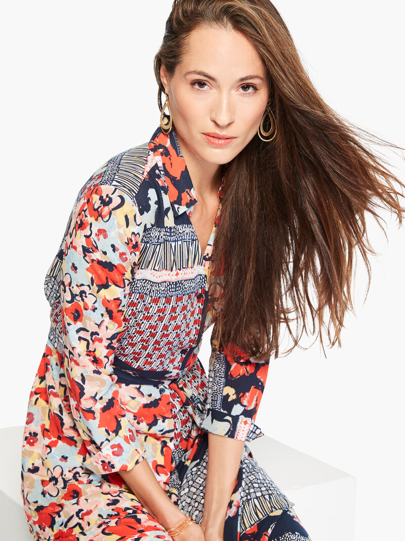 Mixed Up Blooms Shirt Dress