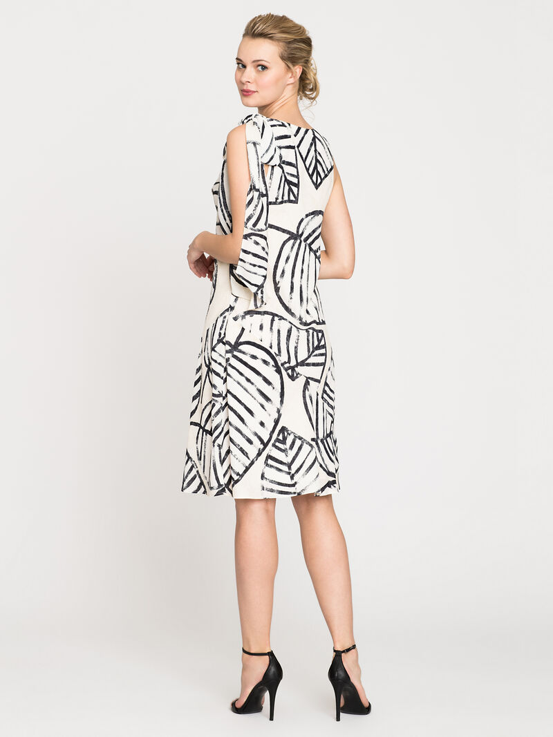 Etched Leaves Tie Dress