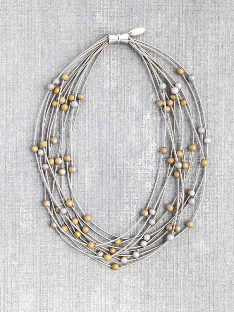 Sea Lily Silver/Gold Geo 10 Layer Necklace image number 0