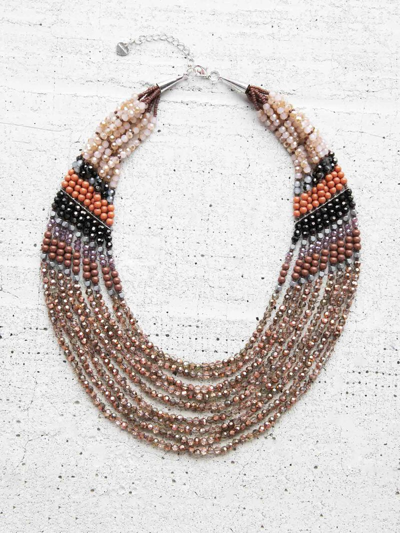 Nakamol Multi Strand Beaded Statement Necklace image number 0