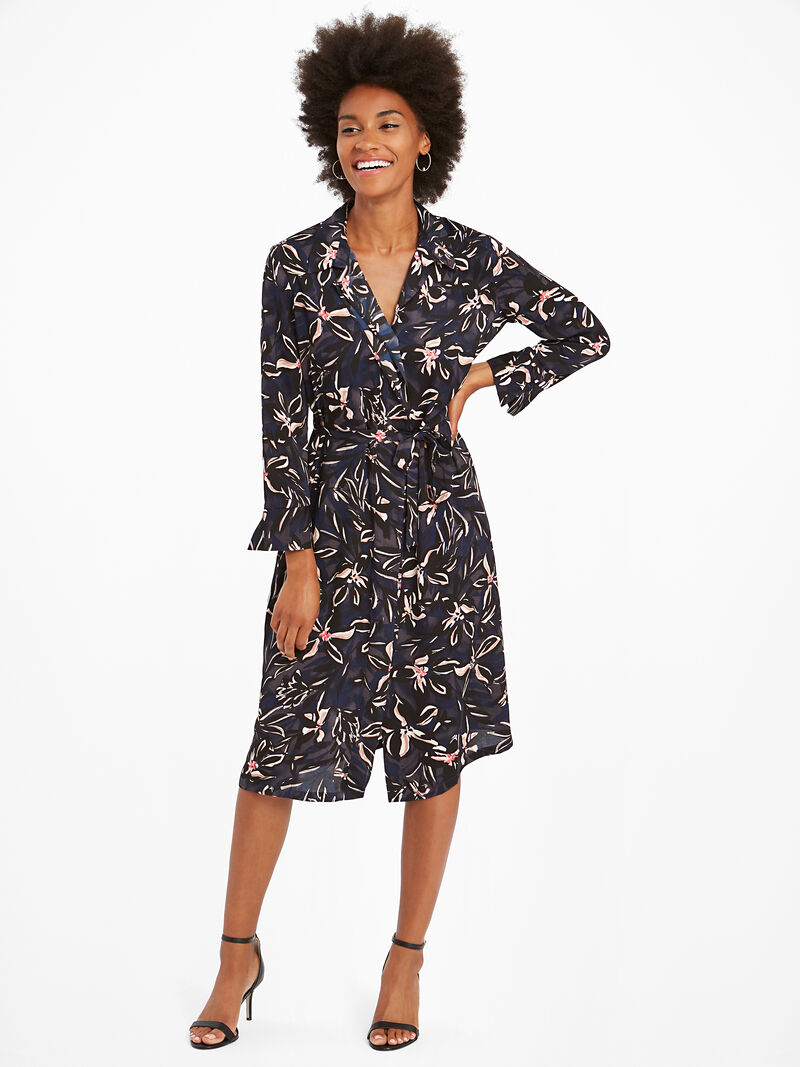 Inky Blooms Tie Dress