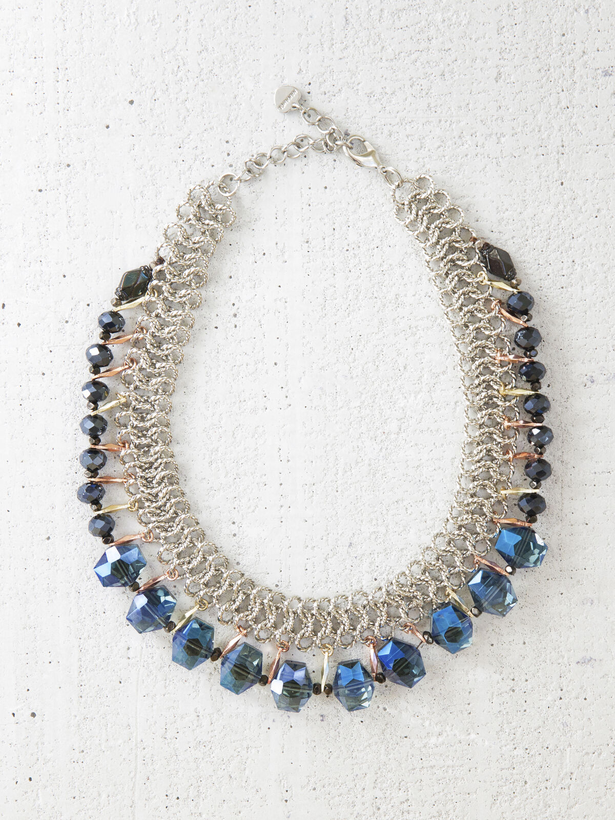 Silver Black And Blue Crystal Bib Necklace