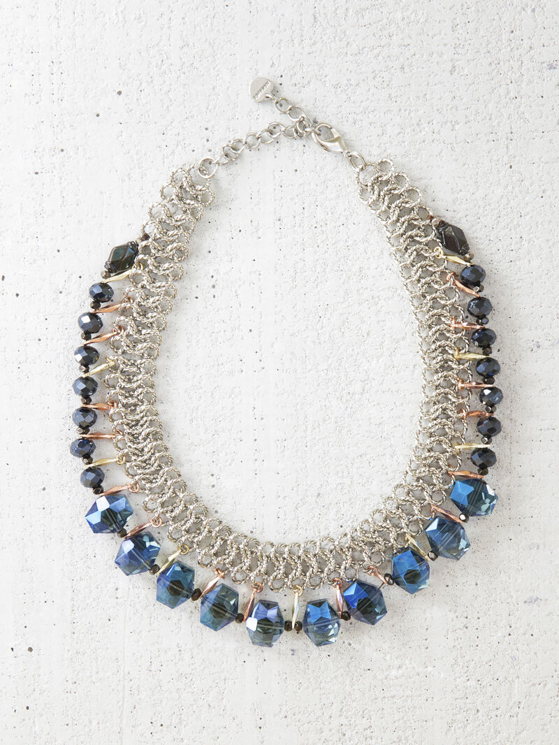 Silver Black And Blue Crystal Bib Necklace image number 0