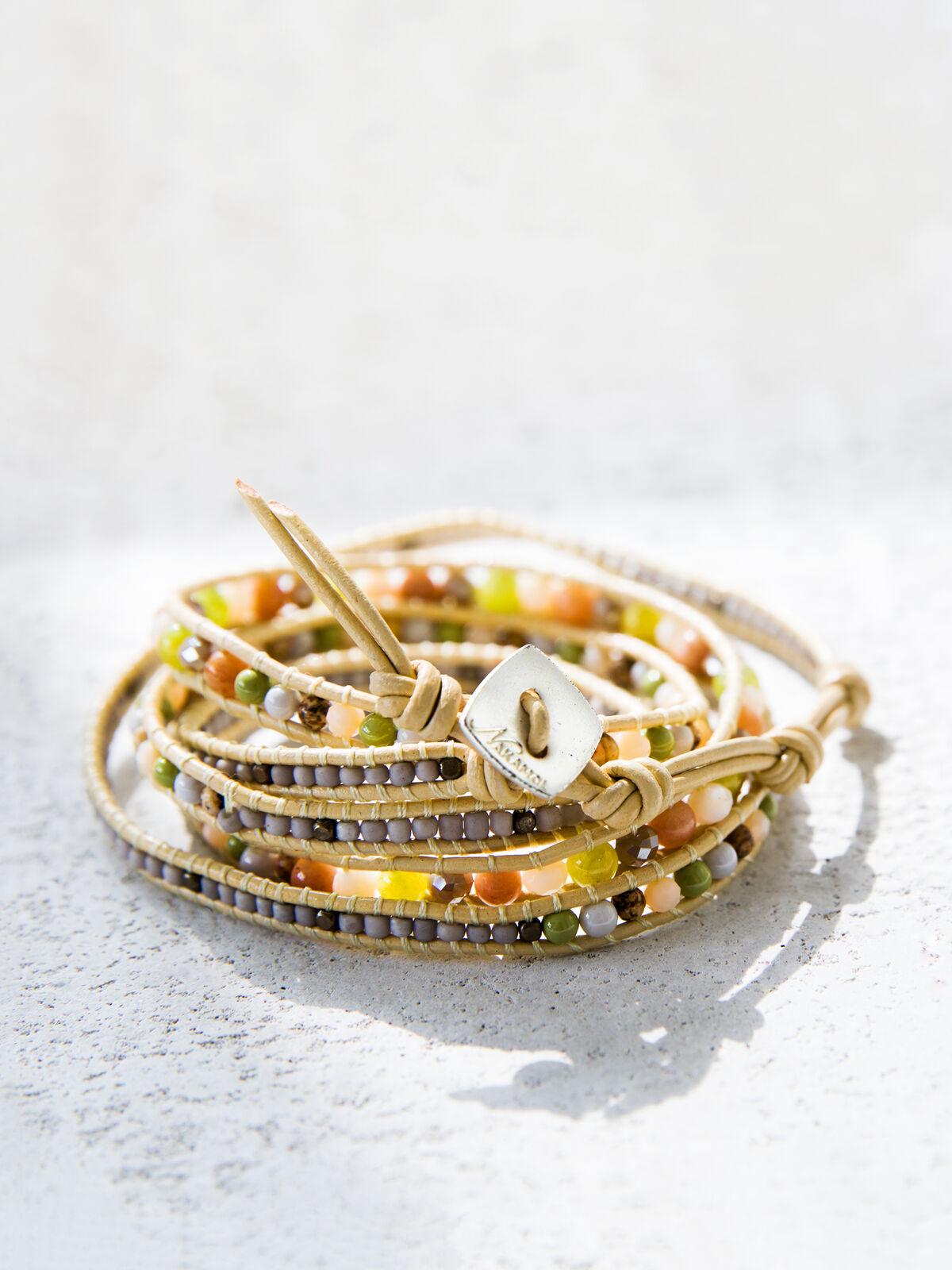 NAKAMOL Peridot Beaded Wrap Bracelet