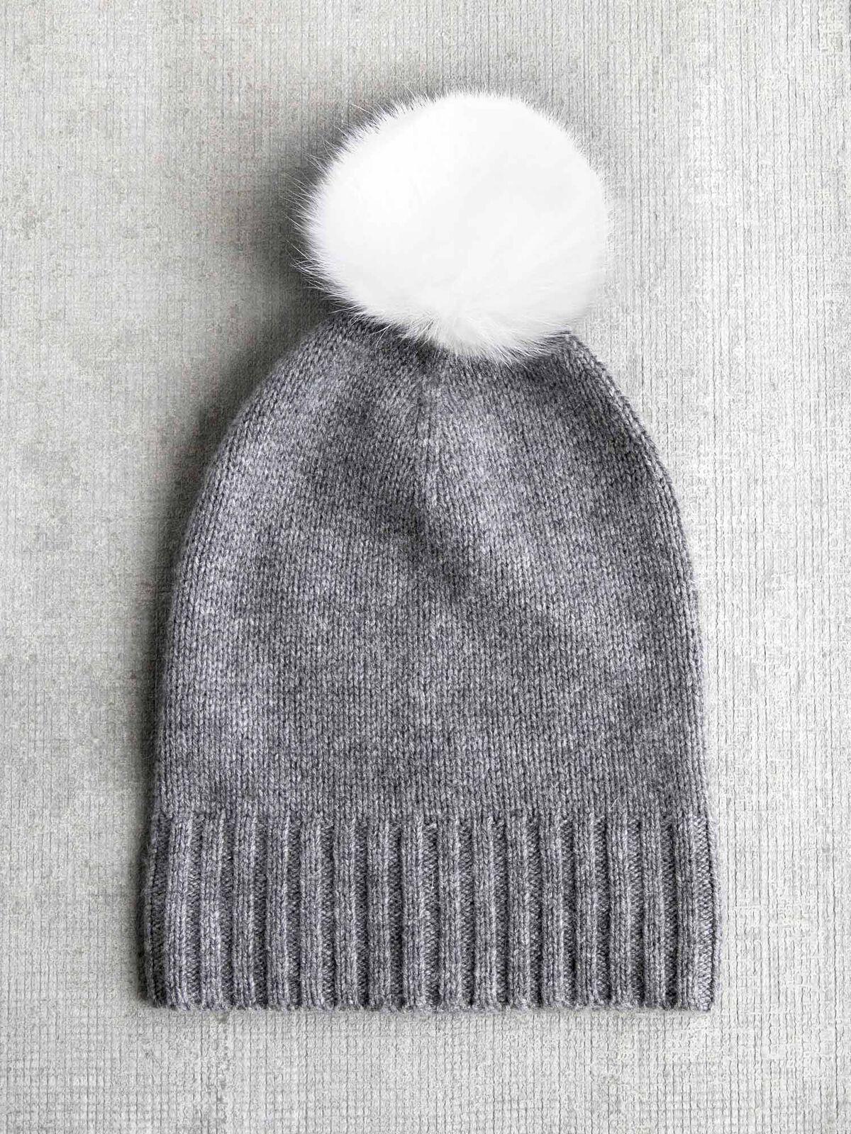 Hat Attack Cashmere Hat w/ Fur Pom