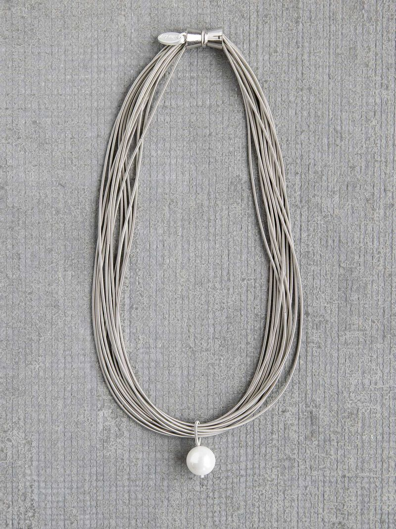 Sea Lily Piano Wire Necklace with Pearl image number 0