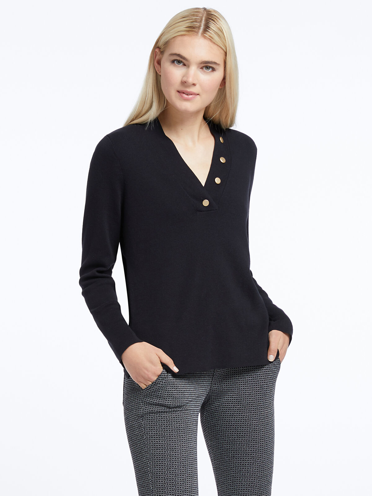 Button V-Neck Sweater