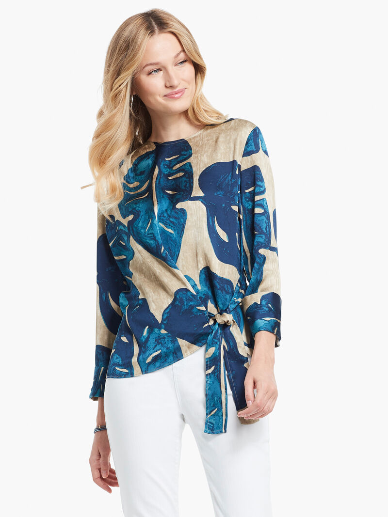 Falling Fronds Tie Blouse image number 0