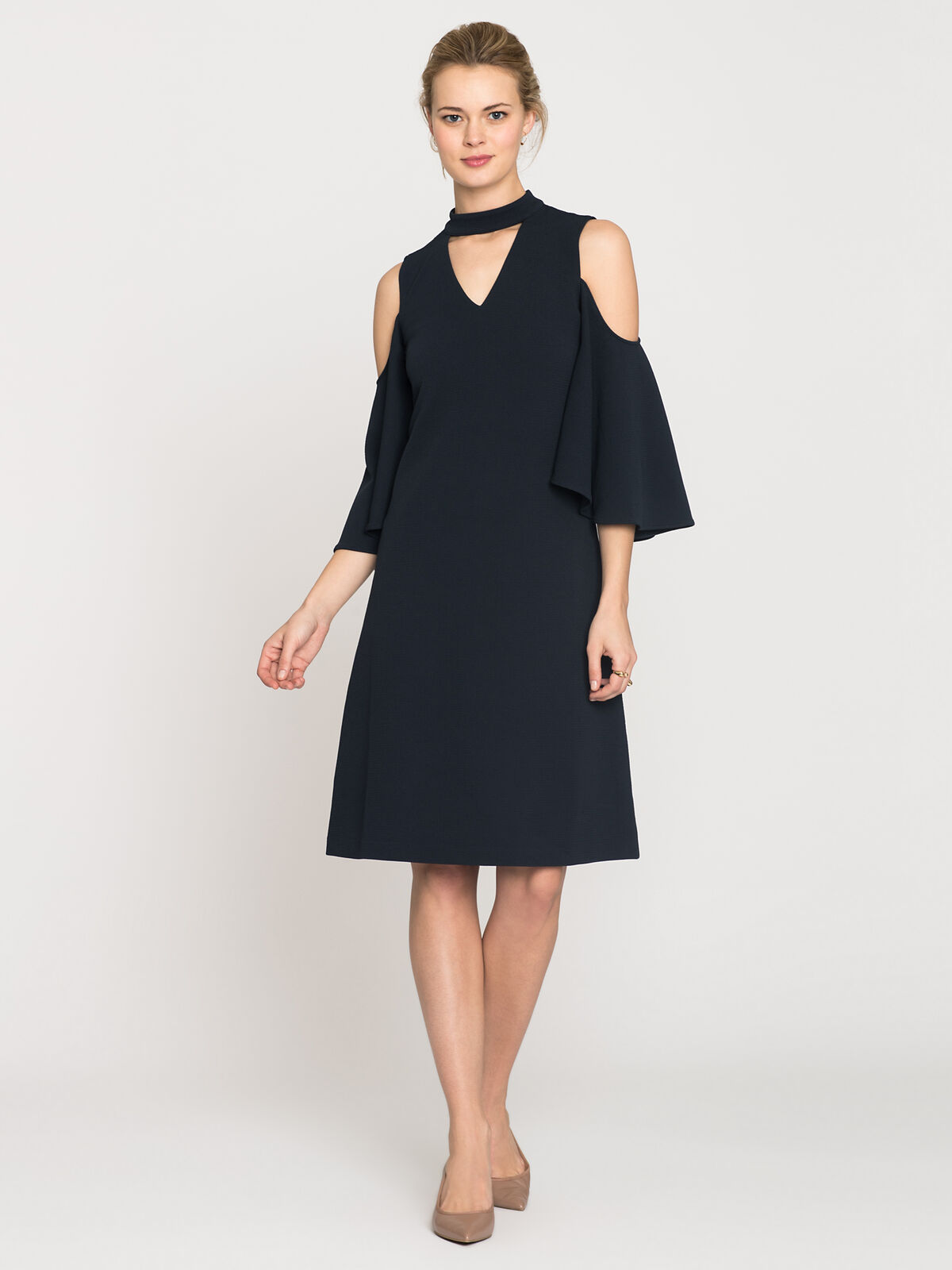 Textured Flutter Sleeve Dress