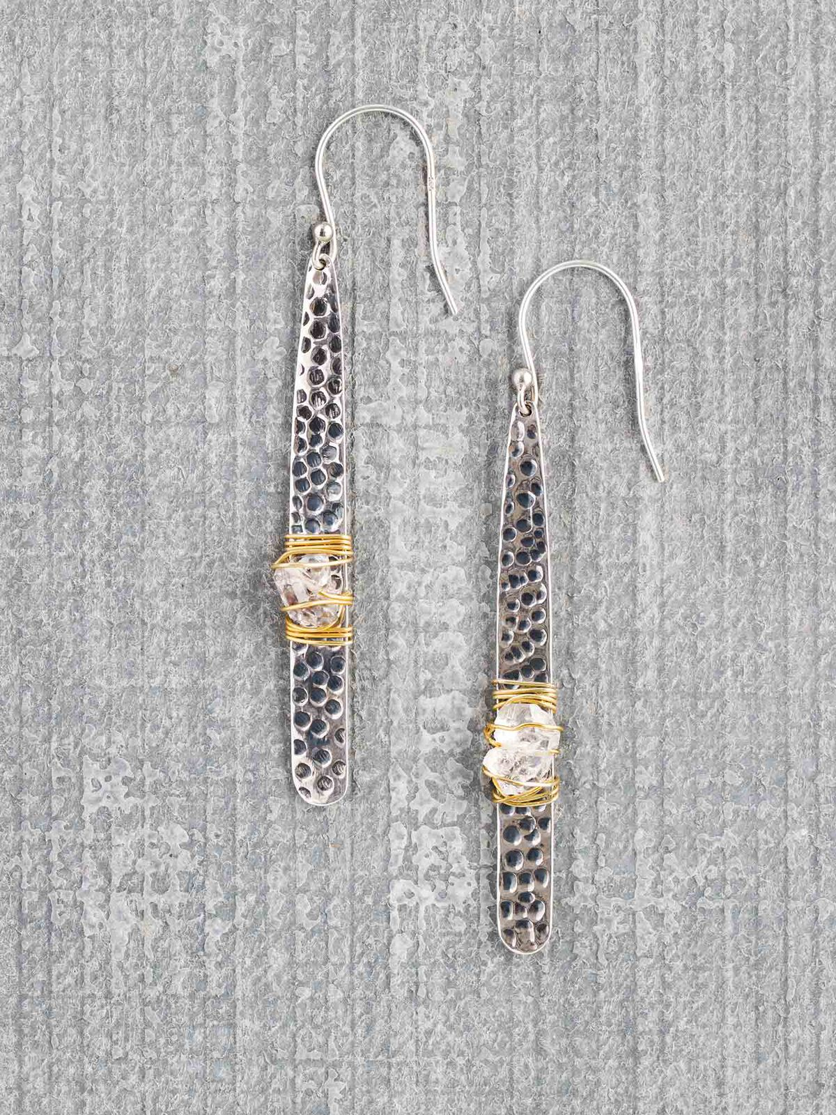 Baizaar  Hammered Silver Wrapped Earring