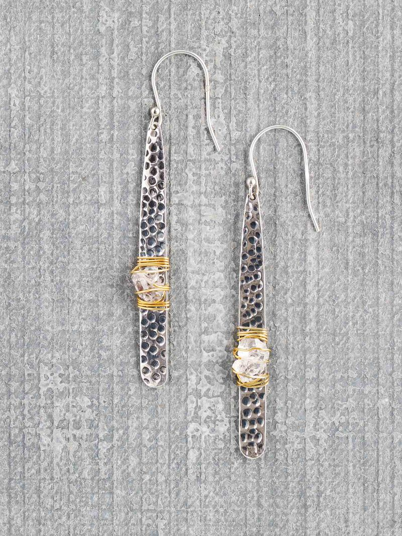 Baizaar  Hammered Silver Wrapped Earring image number 0