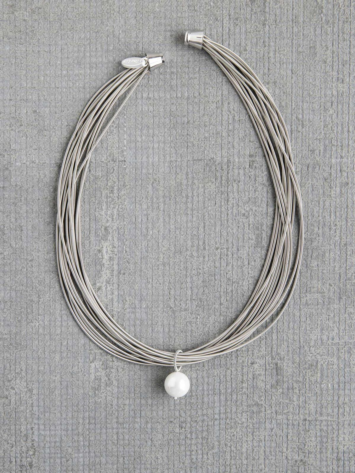 Sea Lily Piano Wire Necklace with Pearl