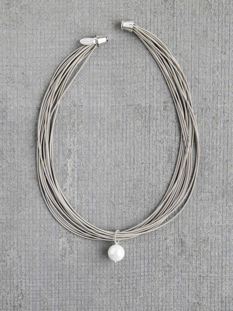 Sea Lily Piano Wire Necklace with Pearl image number 1