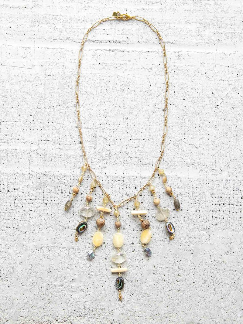 Chan Luu Mixed Stone Statement Necklace