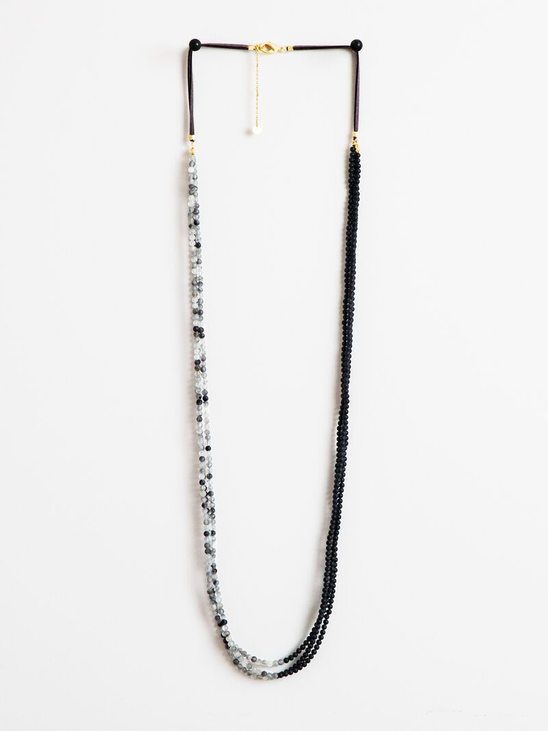 Triple Strand Stone Suede Necklace image number 0