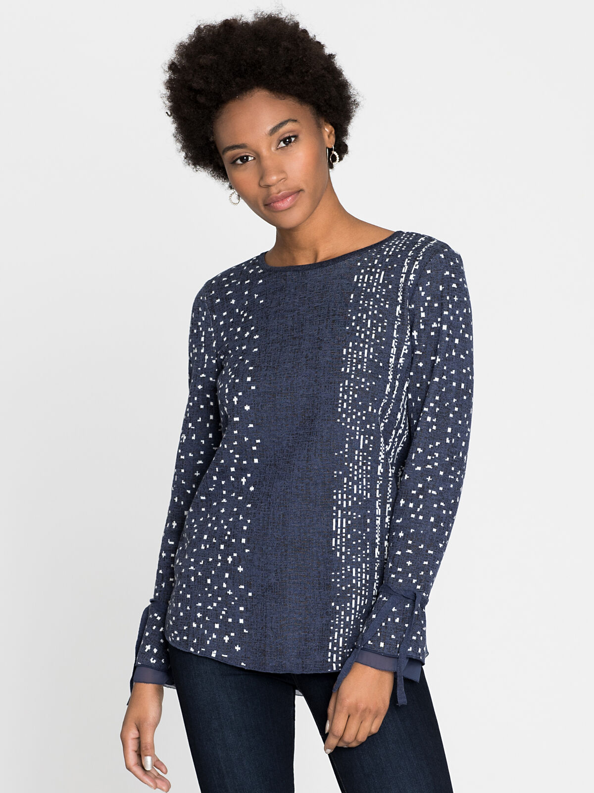 Dotted Line Cuffed Top