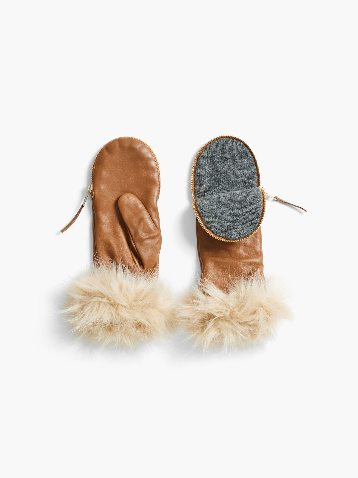 Amato Zipper Mitten w/ Faux Fur Mouton Cuff