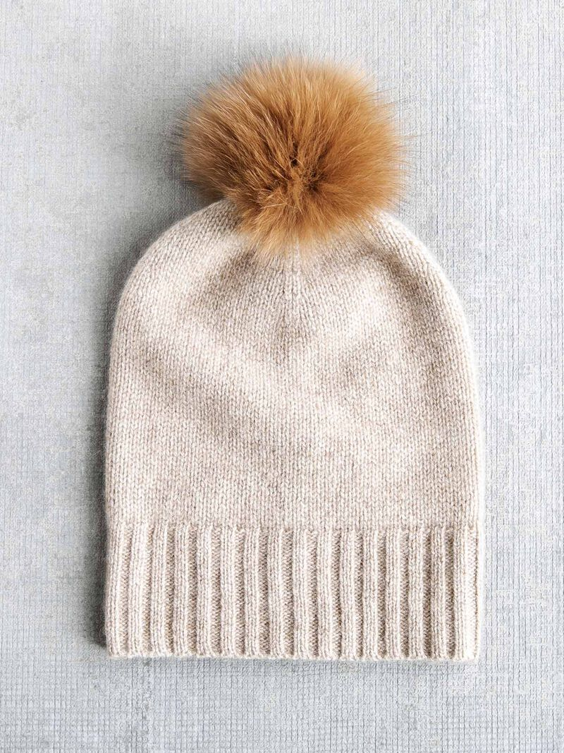 Hat Attack Cashmere Hat w/ Real Fur Pom