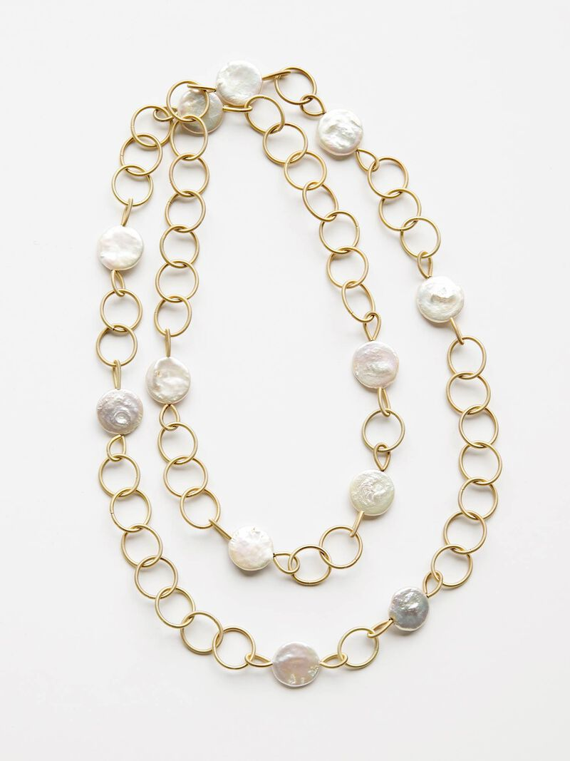 Sea Lily Piano Wire Loop Necklace with Coin Pearls image number 0