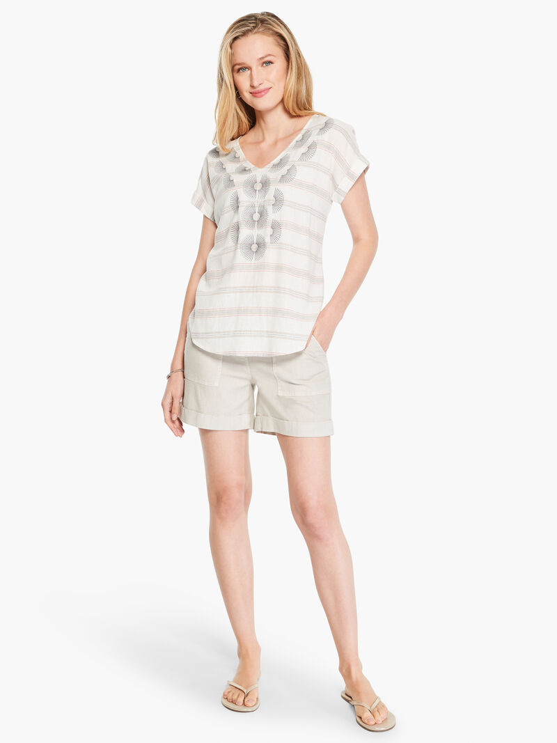 Embroidered Stripe Top image number 3