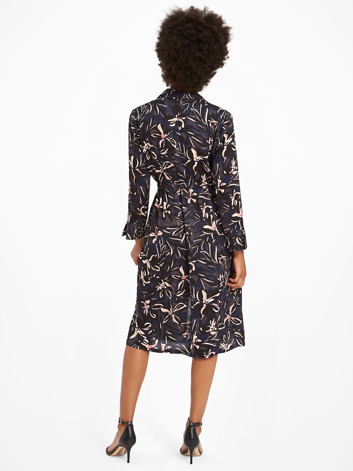 Inky Blooms Tie Dress