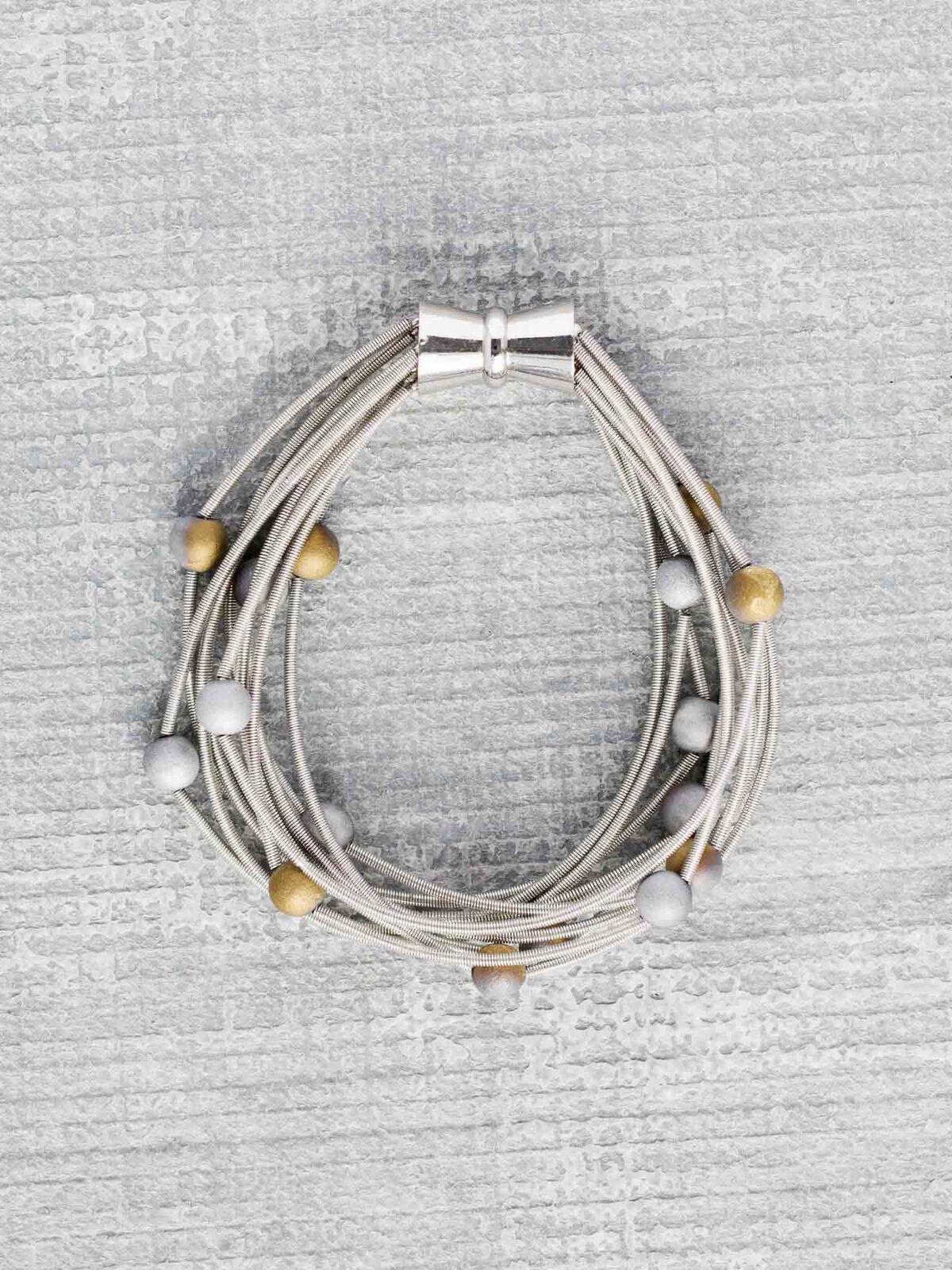 Sea Lily Silver/Gold Geo 10 Layer Bracelet