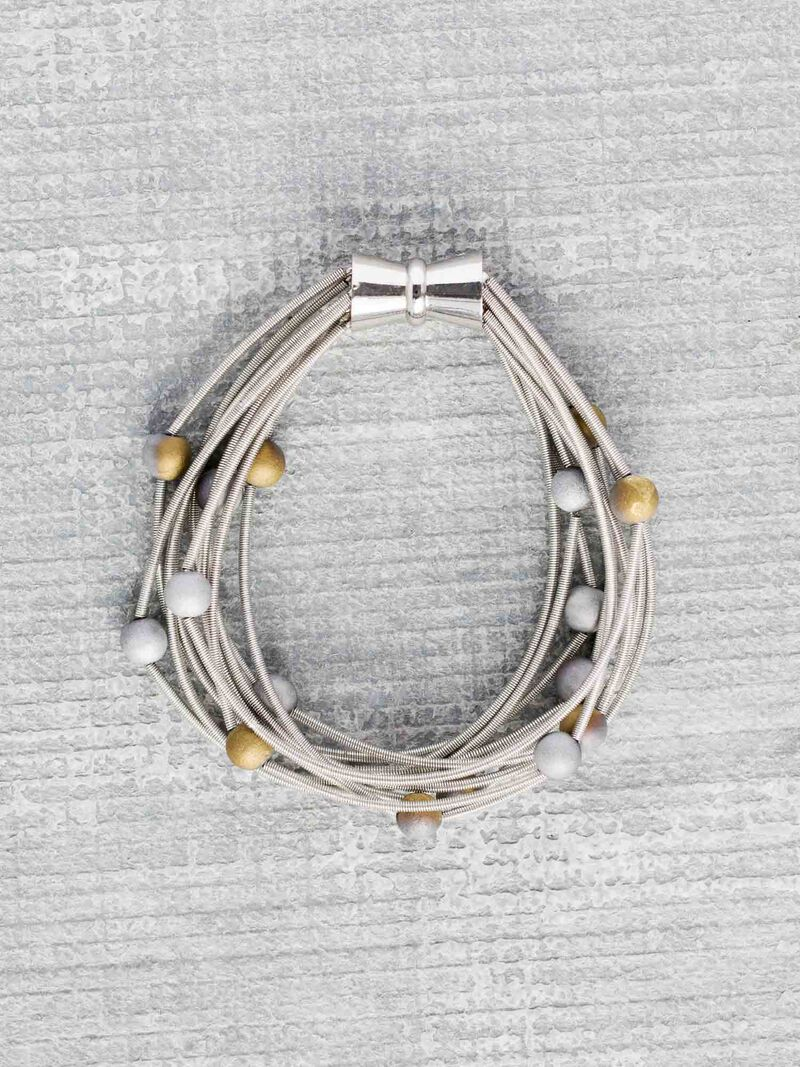 Sea Lily Silver/Gold Geo 10 Layer Bracelet image number 0