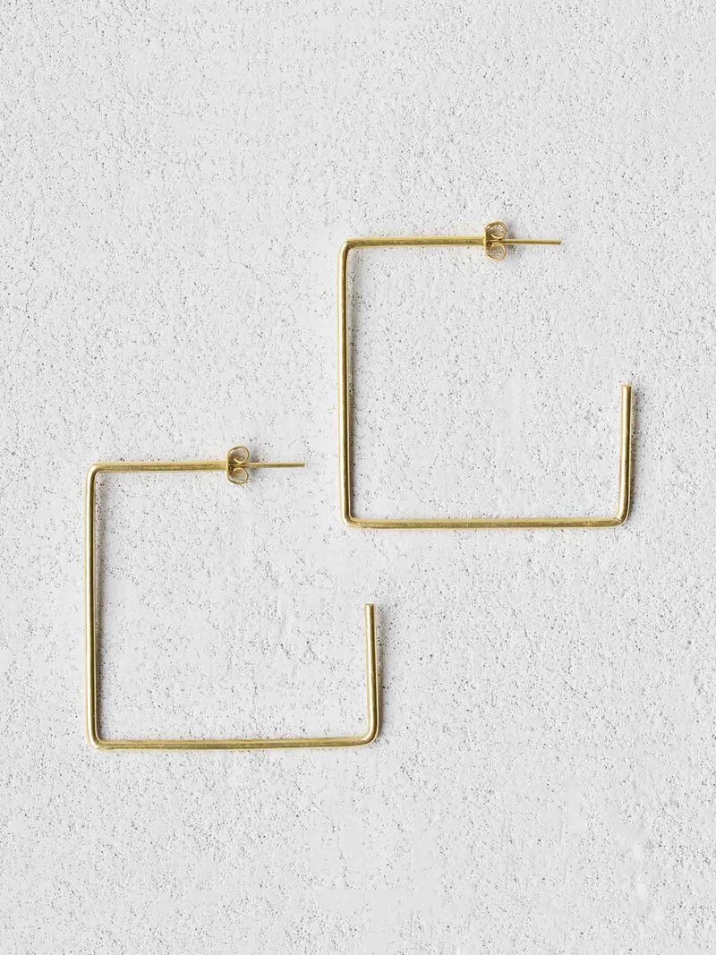 BAIZAAR SQUARE BRASS EARRINGimage number 0